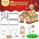 Qooner Gingerbread House Cookie Cutter Set,10 Pieces Bake Your Own Small Christmas House Kit,